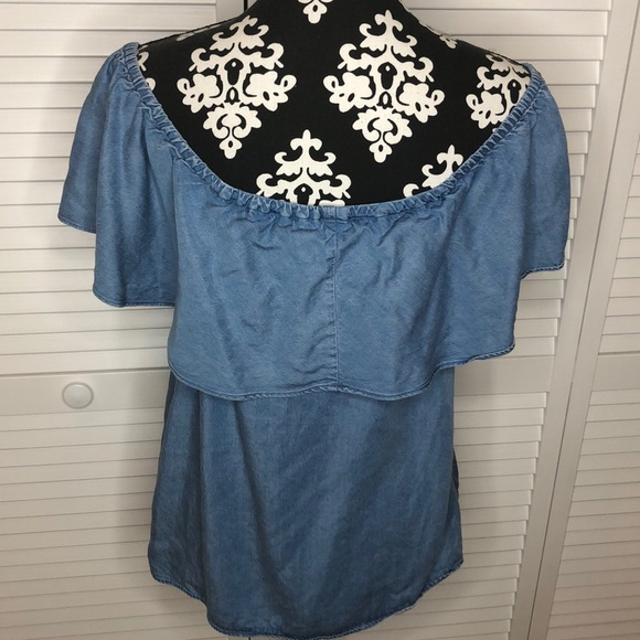 7 For All Mankind Tops - 7FAM Off the Shoulder Ruffle Denim Top Medium